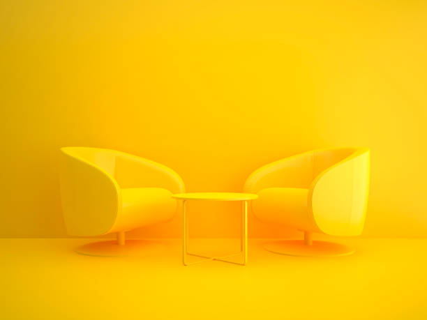 meeting table in yellow - yellow stock photos and pictures