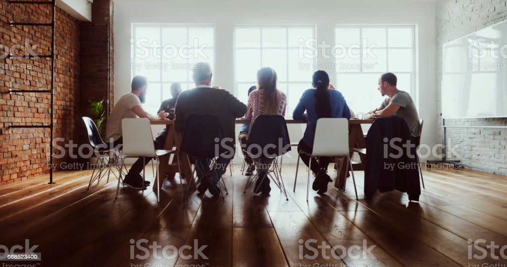Meeting Table Networking Sharing Concept stock photo