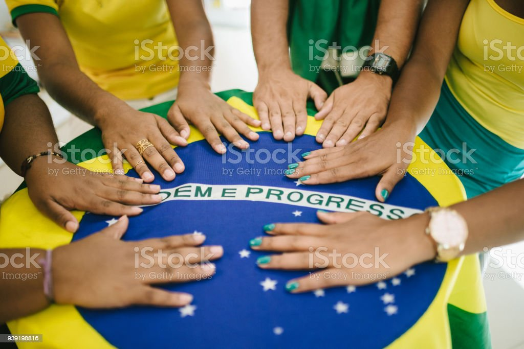 Meeting table with Brazilian flag stock photo
