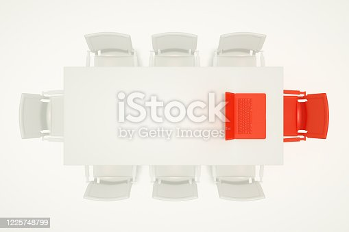 1064053478 istock photo Meeting table with chairs, leadership minimal concept 1225748799
