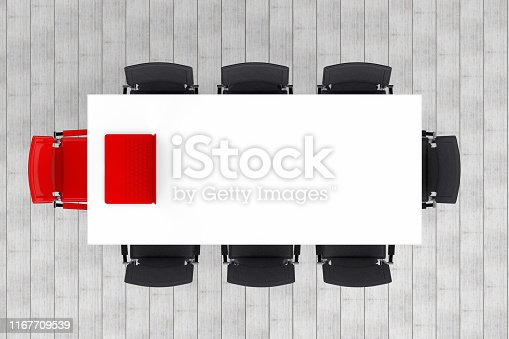 1064053478 istock photo Meeting table with chairs, minimal concept 1167709539
