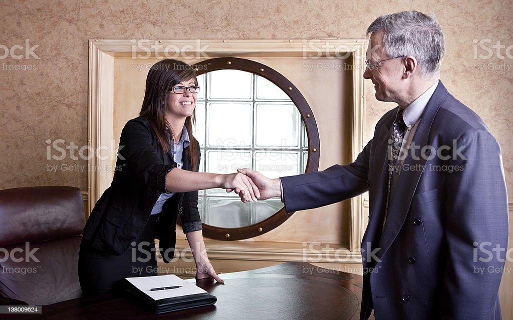 Meeting the big boss stock photo
