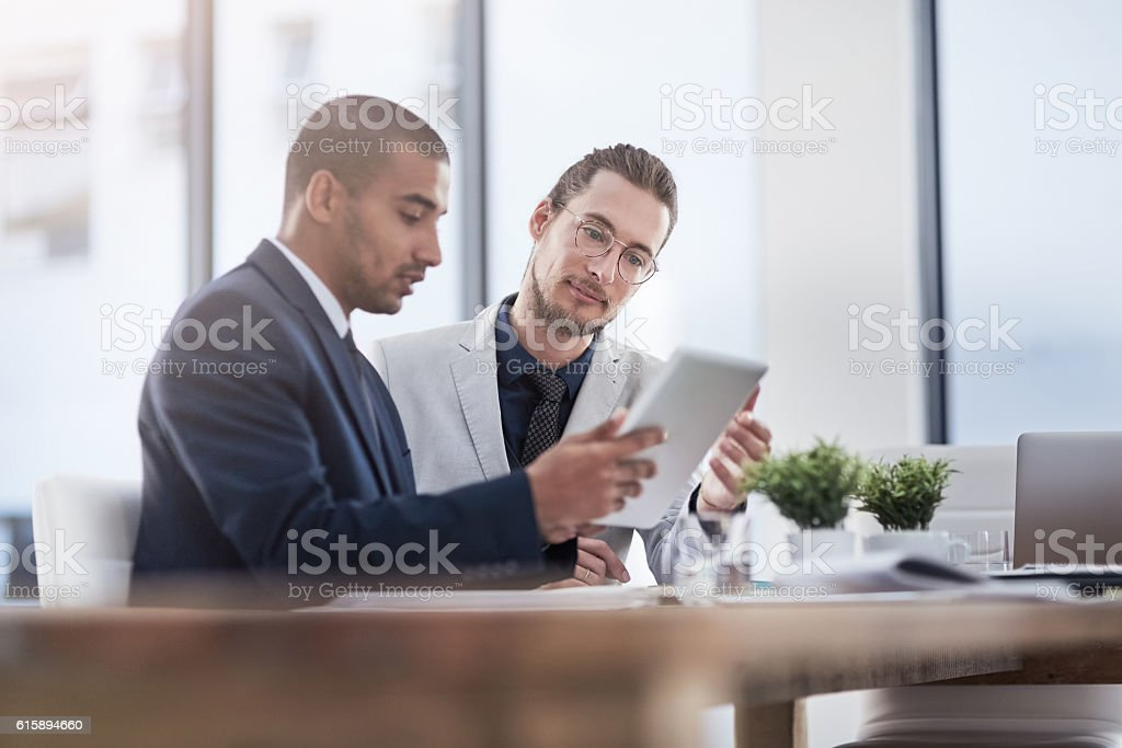 Meeting their business goals as a team stock photo