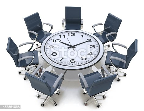 istock Meeting time - round table with a large clock face 487354658
