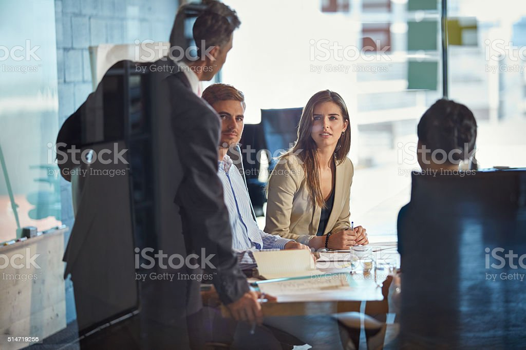 Meeting to discuss important business matters stock photo