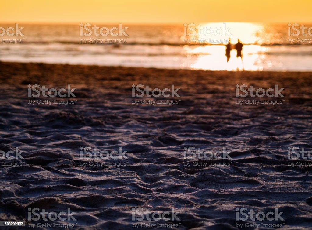 Meeting under sunset stock photo
