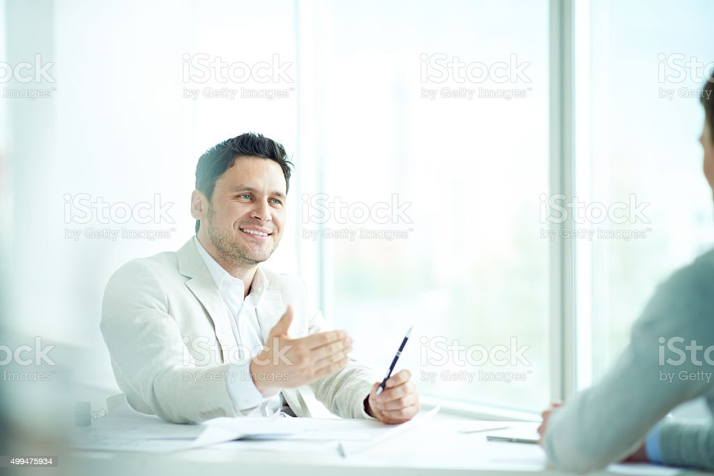 Meeting with consultant stock photo