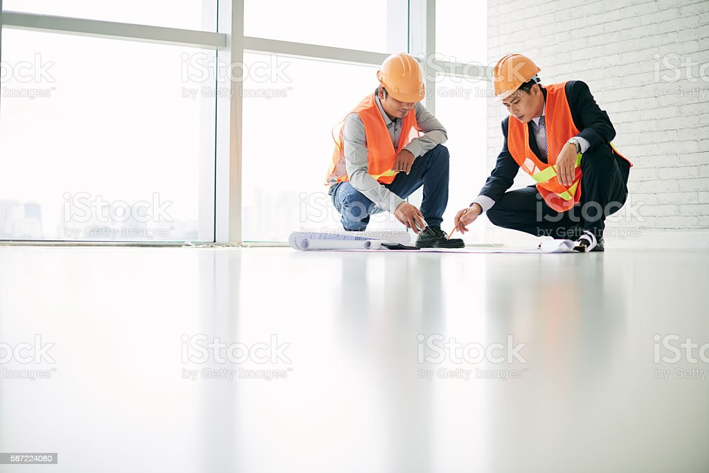 Meeting with engineer stock photo