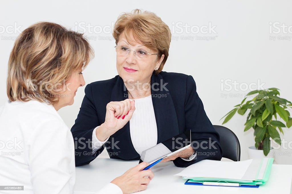 Meeting with financial advisor stock photo