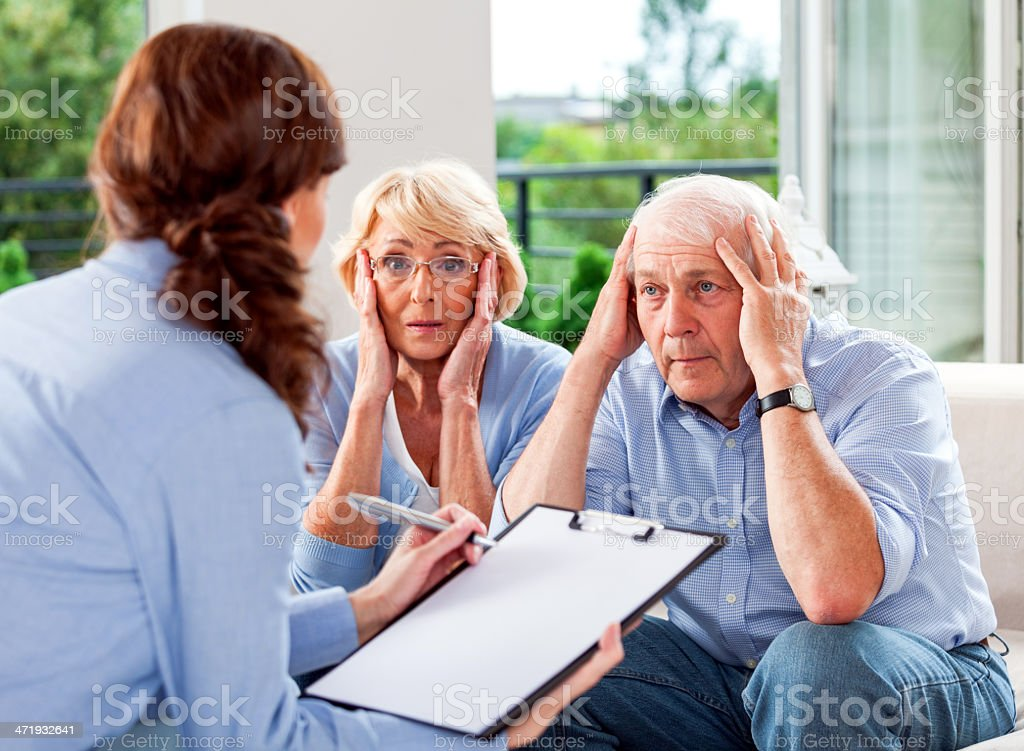 Meeting with insuracne agent stock photo