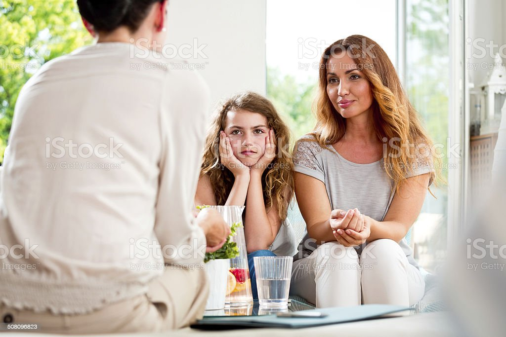 Meeting with therapist stock photo