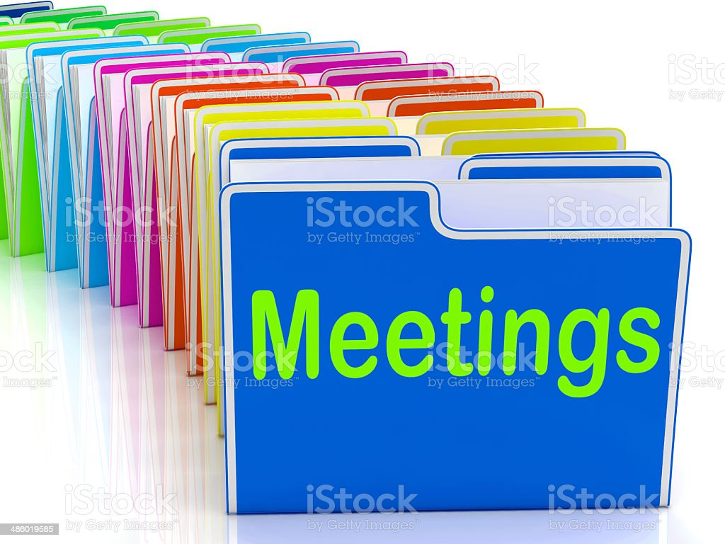 Meetings Folders Means Talk Discussion Or Conference stock photo