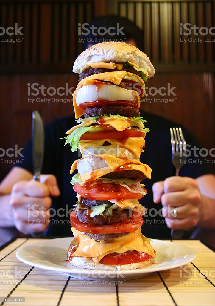 Mega Beefburger stock photo