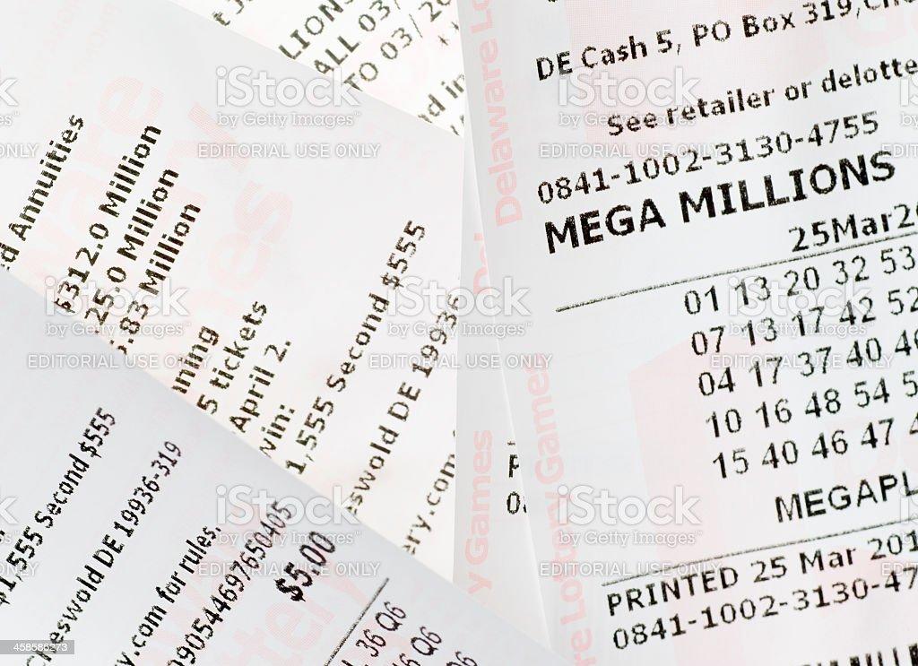 Mega Millions Lottery Tickets stock photo