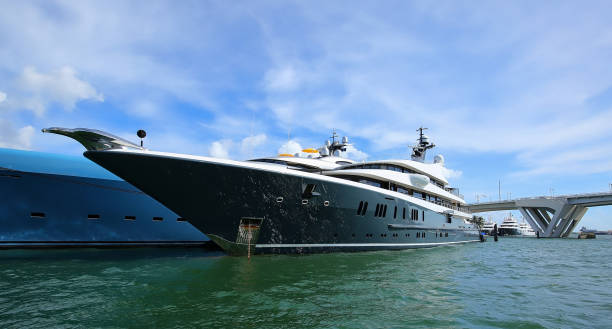 Mega Yacht at the Fort Lauderdale Boat Show stock photo