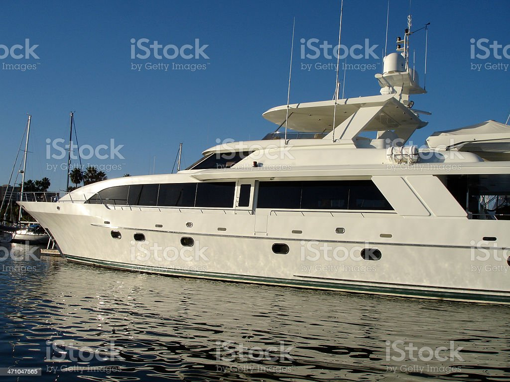 Mega Yacht in Marina royalty-free stock photo