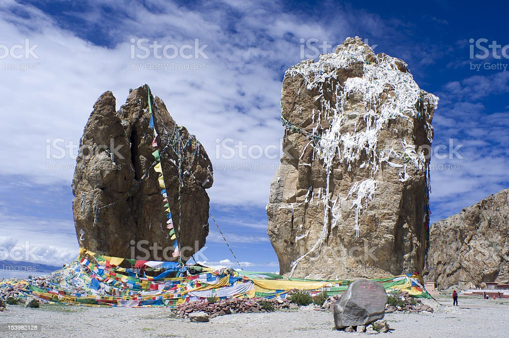 megalith by the Namtso Lake stock photo