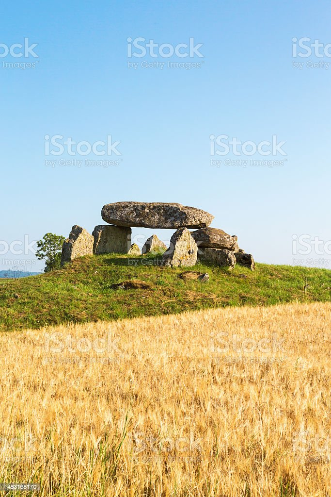 Megalith grave on a hill stock photo