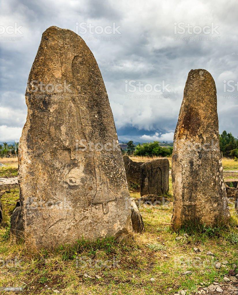 Megalithic Tiya stone pillars near Addis Abbaba, Ethiopia stock photo