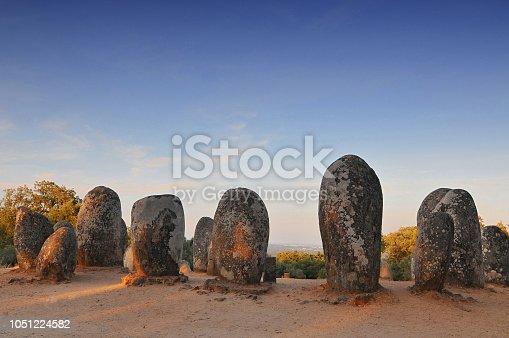 istock Megaliths of Cromlech of Almendres, Alentejo, Portugal. 1051224582