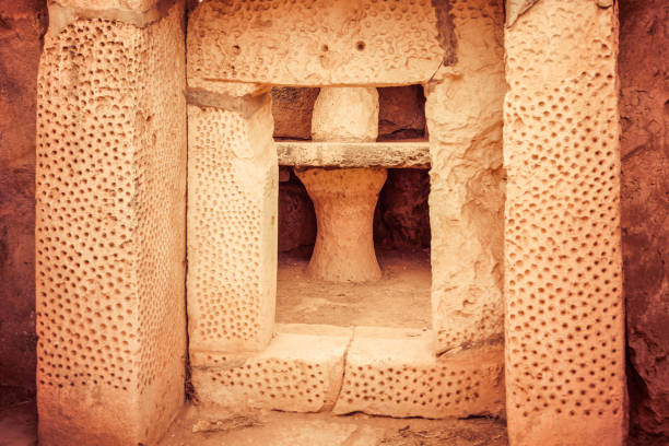 Megalitic temple complex  - Hagar Qim in Malta stock photo