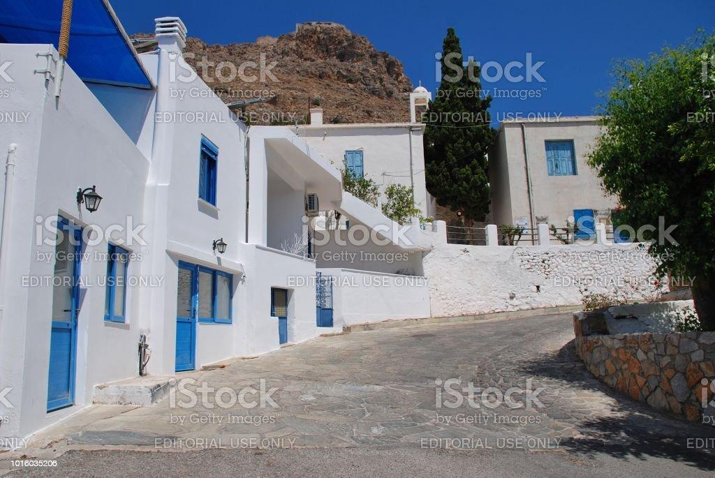 Megalo Chorio main street, Tilos stock photo