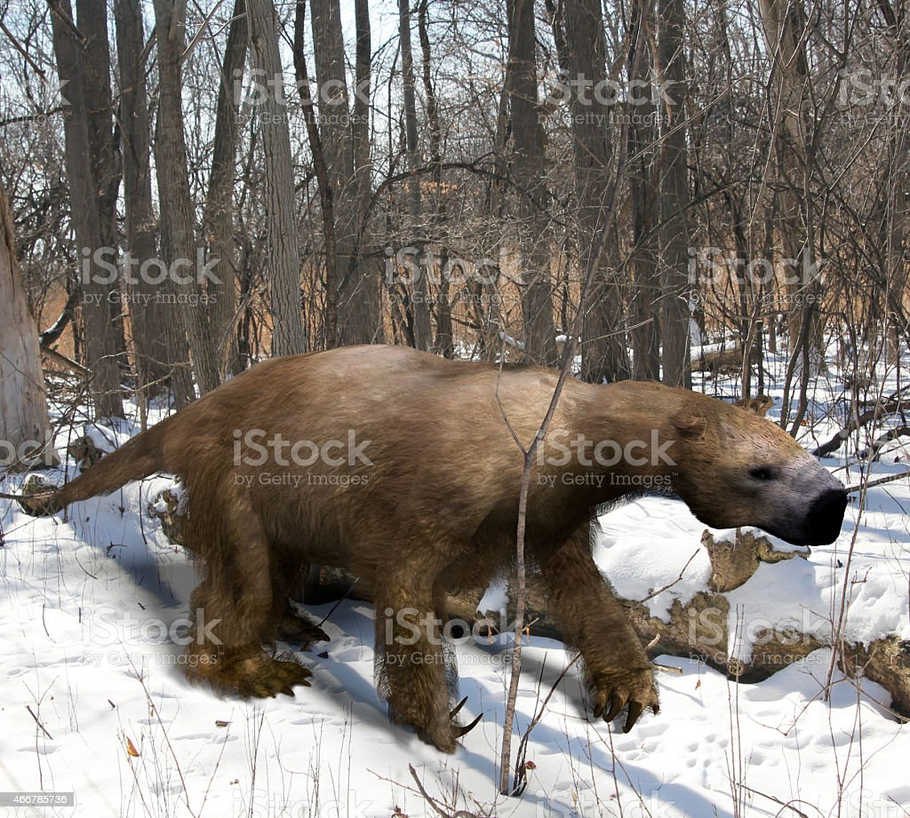 Megalonyx In Ice Age Forest stock photo