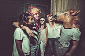 Megaparty: friends party wild in the streets, with fireworks and confetti