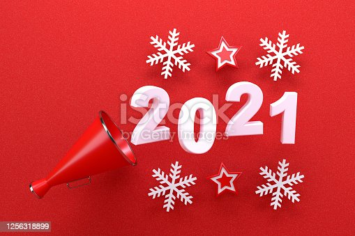 3d rendering of red color megaphone with 2021 text. New year concept.