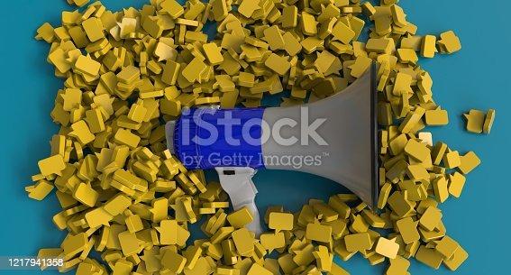 1192285342 istock photo Megaphone and blank bubble 1217941358