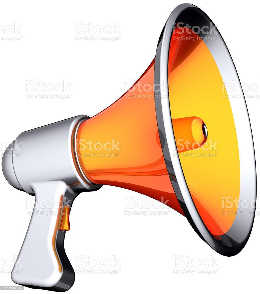 Megaphone announcement news icon colored orange silver stock photo