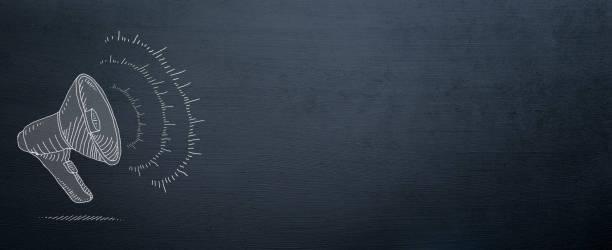 megaphone drawn on blackboard for announce background - feedback icon imagens e fotografias de stock
