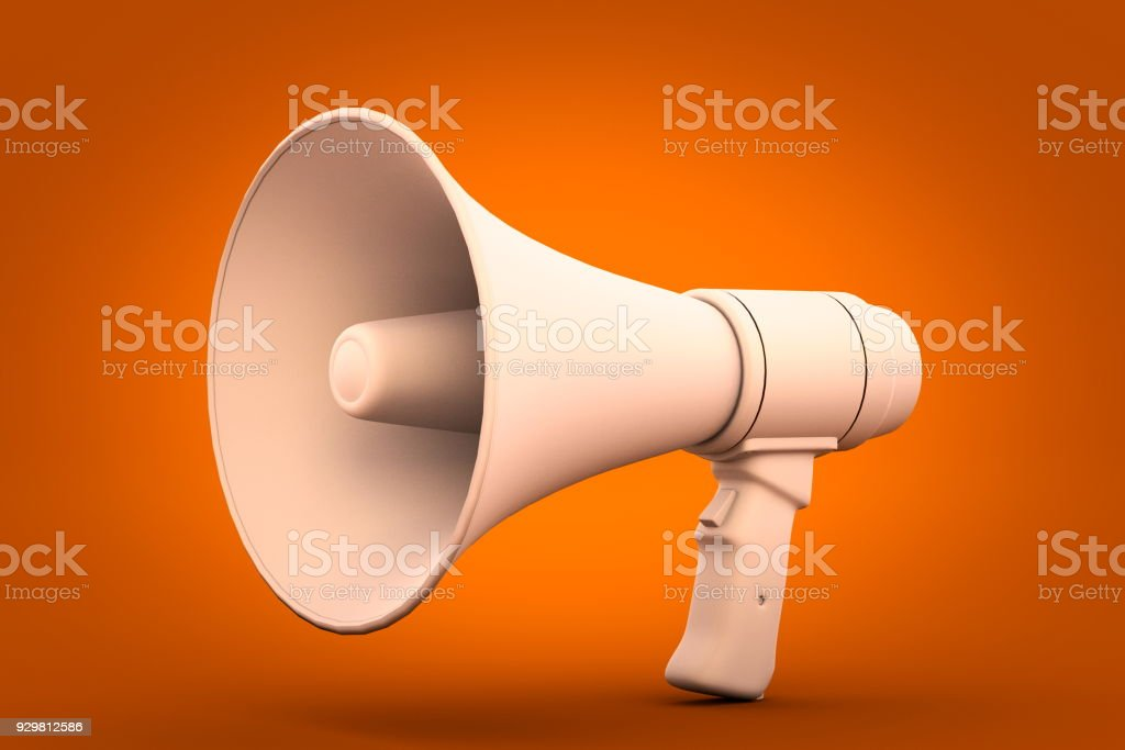 megaphone on orange background 3d render stock photo