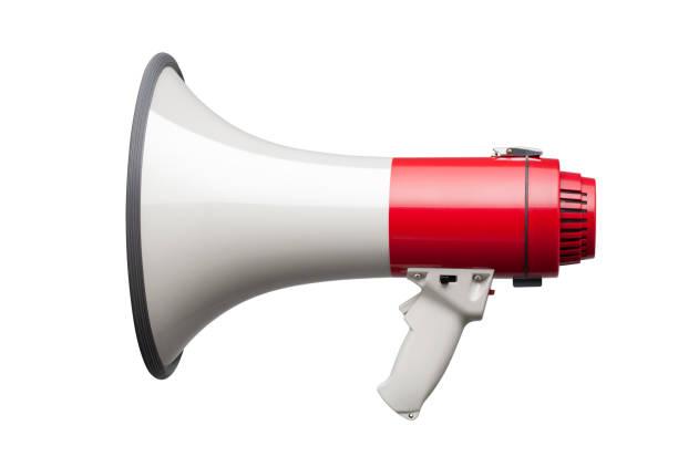 porte-voix sur fond blanc - megaphone photos et images de collection