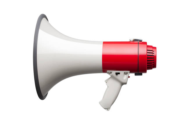 megaphone on white background - megafono foto e immagini stock