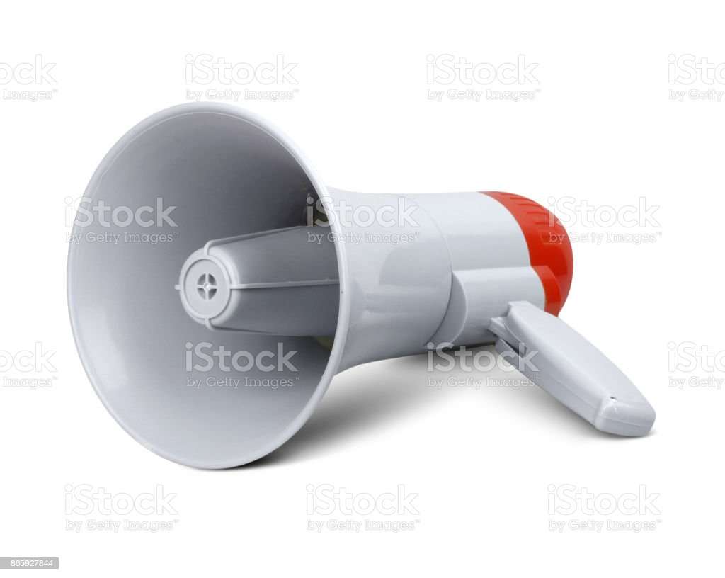 Megaphone on white, clipping path stock photo