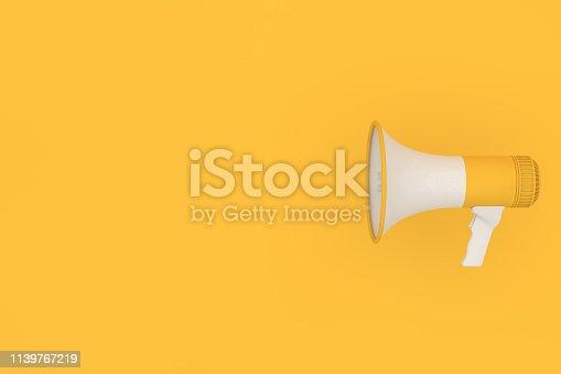 591831768 istock photo Megaphone on yellow background 1139767219