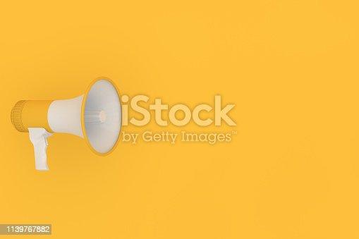 591831768 istock photo Megaphone on yellow background 1139767882