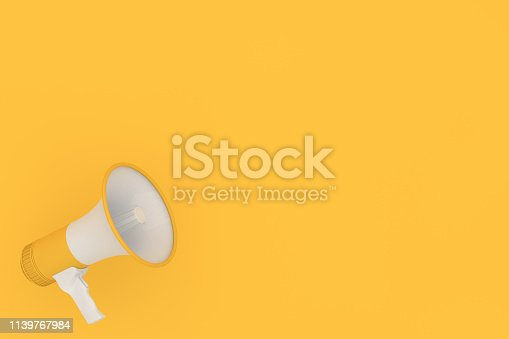 istock Megaphone on yellow background 1139767984