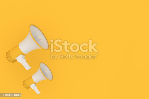 istock Megaphone on yellow background 1139961006