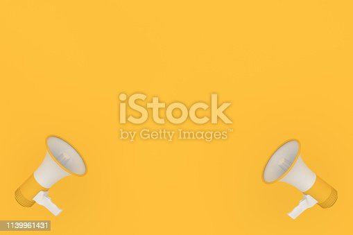 istock Megaphone on yellow background 1139961431