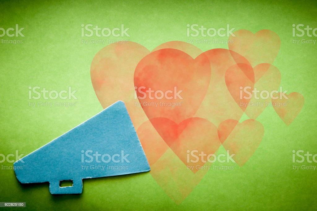 Megaphone shouting out a love message stock photo