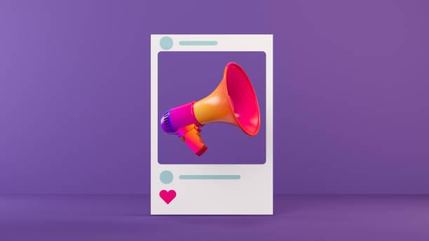 メガホンソーシャルメディアコンセプト - 広告 ストックフォトと画像