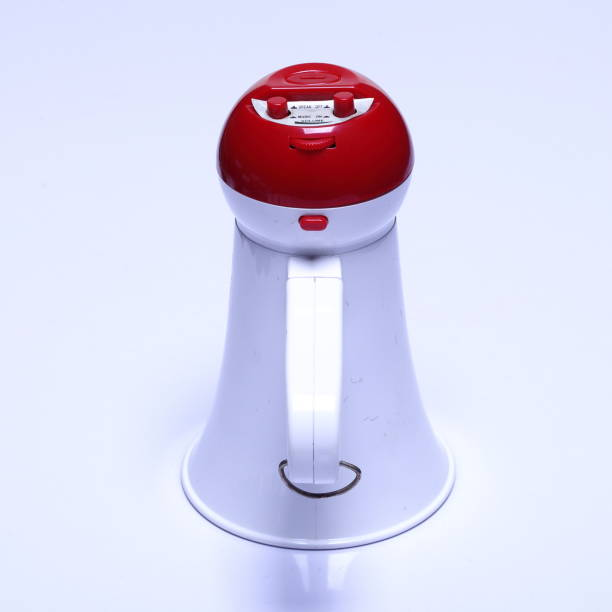 megaphone speaker device, white red color, no logo - loudon stock photos and pictures