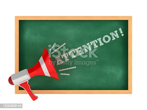 Megaphone with ATTENTION! Word on Chalkboard Frame - 3D Rendering