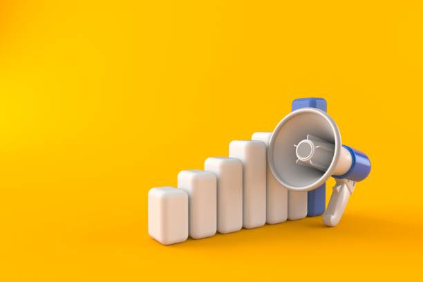 Megaphone with chart - foto stock