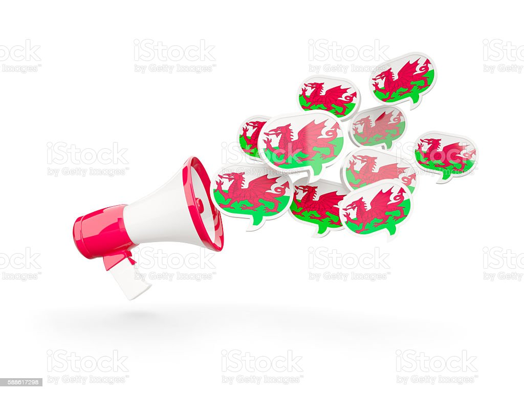 Megaphone with flag of wales stock photo