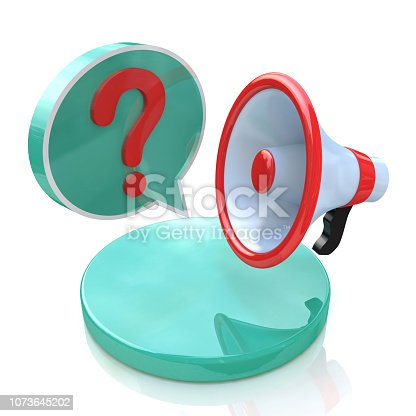 1192285342 istock photo Megaphone with Speech Bubble and Question mark in the design of information related to communication. 3d illustration 1073645202