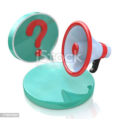 1192285342 istock photo Megaphone with Speech Bubble and Question mark 476645950