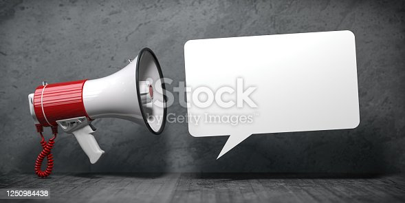 690508154 istock photo Megaphone with speech bubble for announcement text. Marketing and communication. 1250984438
